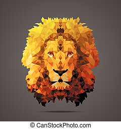Lion low poly Gold gradient Side light
