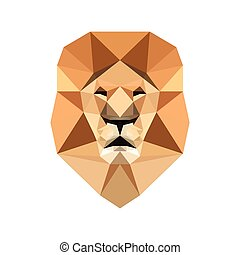 Lion low poly portrait. Abstract symmetric geometric lion...