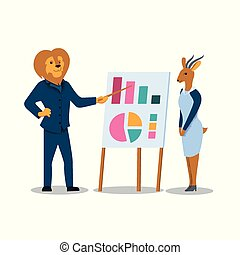 Lion Man and Antelope Woman Stand at Chart Board