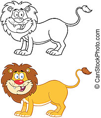 Lion Mascot Character.Collection