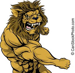 Lion mascot fighting - A tough muscular lion character...
