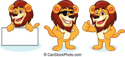 Lion Mascot Vector pose, happy and bring board