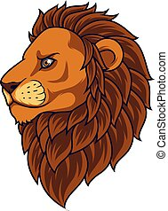lion, mascotte, tête, dessin animé