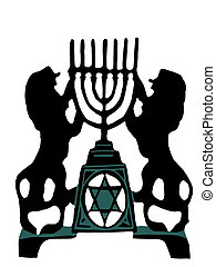 Two lion holding a menorah in silhouette, over white