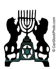 Lion Menorah - Two lion holding a menorah in silhouette, ...