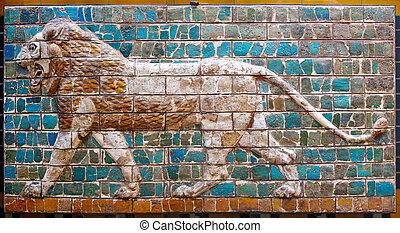 Lion on Babylonian mosaic