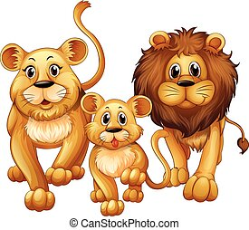Lion on family with cute cub illustration