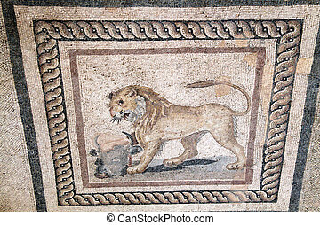 Lion on mosaic