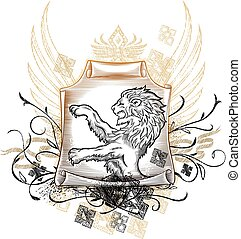 Lion on Scroll Insignia