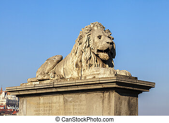 Lion on the Szechenyi Chain Bridge in Budapest