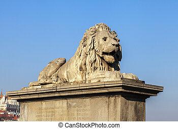 Lion on the Szechenyi Chain Bridge in Budapest