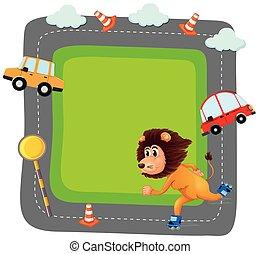 Lion on traffice banner
