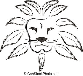 lion painted with strokes - Lion face painted with strokes