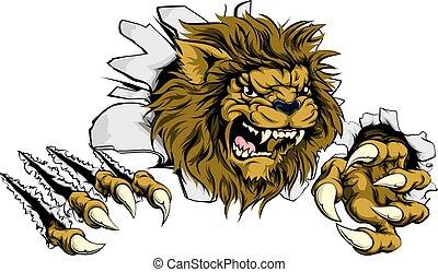 lion, par, déchirer, fond