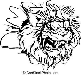 lion, percer, tête, fond