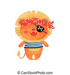 Lion pirate character in cartoon style, in a blue white vest, red bandana, black eyepatch.