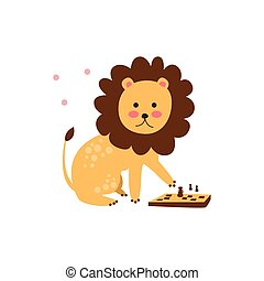 Lion Playing Chess
