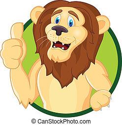 lion, pouce haut, dessin animé