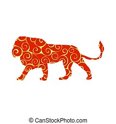 Lion predator color silhouette animal