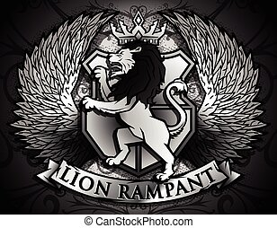 Lion Rampant similar to Coat of Arms Lion on background of...