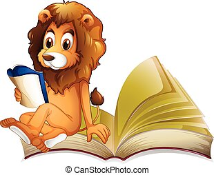 Lion reading storybook alone