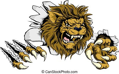Lion ripping through background - A Lion sports mascot...