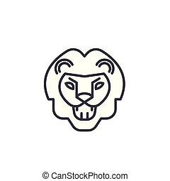 lion roar vector line icon, sign, illustration on background, editable strokes
