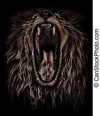 lion roars, portrait in oil colour