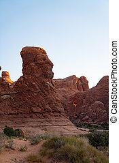 lion rock formation in the desert of utah