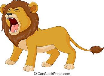 lion, rugir, dessin animé