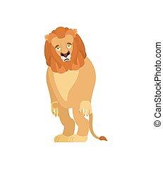 Lion sad. Wild animal sorrowful. Beast dull. Vector...