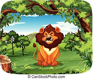 lion, scène, nature