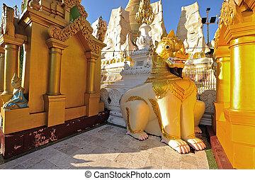 Lion Sculpture in schwedagon pagoda, Yangon , Myanmar.