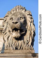 Lion Sculpture on Chain Bridge in Budapest