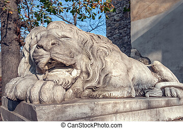 Lviv - Lion sculpture on Lviv city. Ukraine