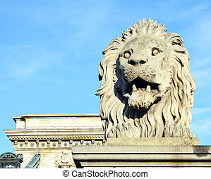 Lion sculpture on the Szechenyi Chain Bridge in Budapest - Hungary