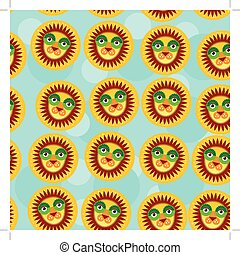 Lion Seamless pattern with funny cute animal face on a blue background