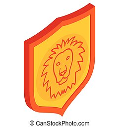 Lion shield icon, isometric 3d style