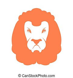 Lion sign logo. Leo emblem icon. Wild animal savanna. Africa predator head