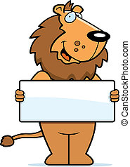 Lion Sign - A happy cartoon lion with a sign.