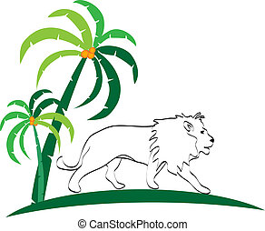 Lion silhouette and trees logo