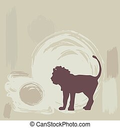 lion silhouette on grunge background. vector