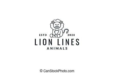 lion sit cute cartoon line logo icon vector illustration