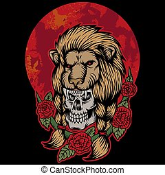 lion skull head red moon vector illustration