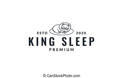 lion sleep  cute  cartoon line logo icon vector illustration