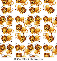 Lion sleeping seamless background