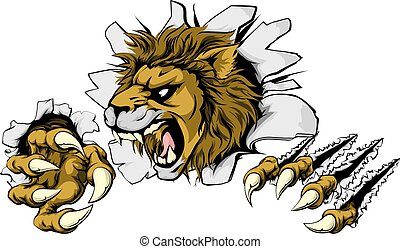 Lion smashing out - A scary lion mascot ripping through the...