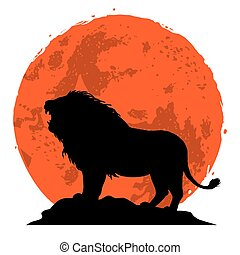 Lion Snarling on a Rock. Side View with Sunset Background. Vector Illustration