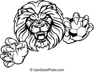 Lion Soccer Ball Sports Mascot