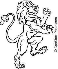 Lion Standing Rampant Heraldic Crest - A lion standing...
